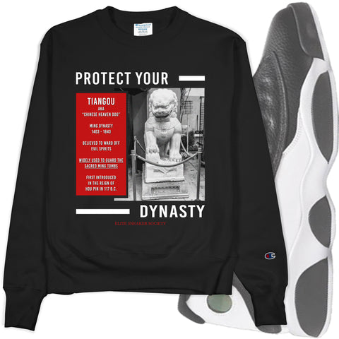Men's Black Crew Neck TIANGOU Champion Sweatshirt to Match Air Jordan Retro 13 Reverse He Got Game