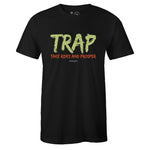 Men's Black Crew Neck TRAP T-shirt to Match Yeezy Boost 350 V2 Semi Frozen Yellow Yerba