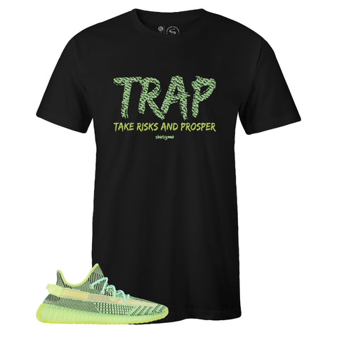 Men's Black Crew Neck TRAP T-shirt to Match Yeezy Boost 350 V2 Yeezreel