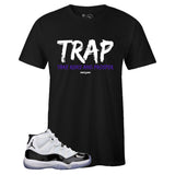Men's Black Crew Neck TRAP T-shirt to Match Air Jordan Retro 11 CONCORD