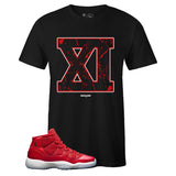 Men's Black Crew Neck XI Sneaker T-shirt to Match Air Jordan Retro 11 Win Like 96