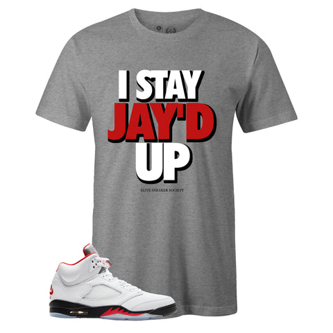 Men's Grey Crew Neck JAY'D UP T-shirt to Match Air Jordan Retro 5 Fire Red