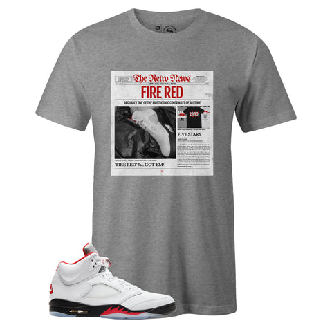 Men's Grey Crew Neck RETRO NEWS T-shirt to Match Air Jordan Retro 5 Fire Red