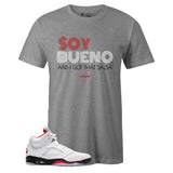 Men's Grey Crew Neck SOY BUENO T-shirt to Match Air Jordan Retro 5 Fire Red