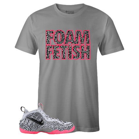 Men's Grey Crew Neck FOAM FETISH T-shirt To Match Air Foamposite Pro Elephant Print