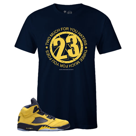 Men's Navy Crew Neck 23 Sneaker T-shirt To Match Air Jordan Retro 5 Michigan