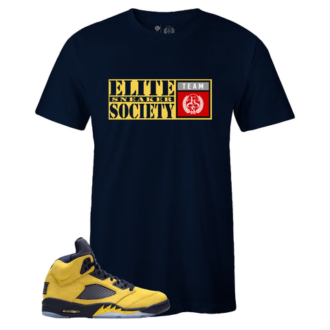 Men's Navy Crew Neck ELITE SNEAKER SOCIETY T-shirt To Match Air Jordan Retro 5 Michigan