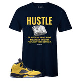 Men's Navy Crew Neck HUSTLE Sneaker T-shirt To Match Air Jordan Retro 5 Michigan