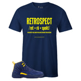 Men's Navy Crew Neck RETROSPECT T-shirt To Match Jordan Retro 12 Michigan