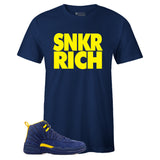 Men's Navy Crew Neck SNKR RICH T-shirt To Match Jordan Retro 12 Michigan