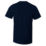 Men's Navy Crew Neck HUSTLE Sneaker T-shirt To Match Air Jordan Retro 9 UNC Pearl Blue