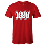 Men's Red Crew Neck 1990 T-shirt to Match Air Jordan Retro 5 Fire Red