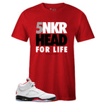 Men's Red Crew Neck SNKR HEAD FOR LIFE T-shirt to Match Air Jordan Retro 5 Fire Red