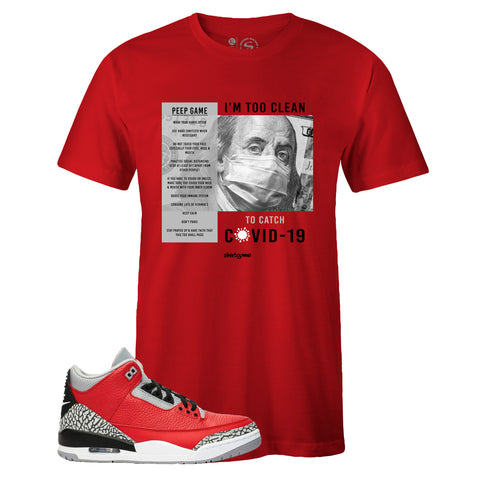Men's Red Crew Neck COVID-19 T-shirt To Match Air Jordan Retro 3 Red Cement