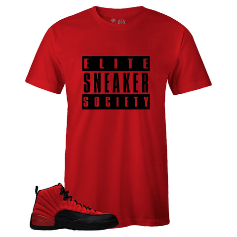 Men's Red Crew Neck Elite Sneaker Society T-shirt to Match Air Jordan Retro 12 Reverse Flu Game