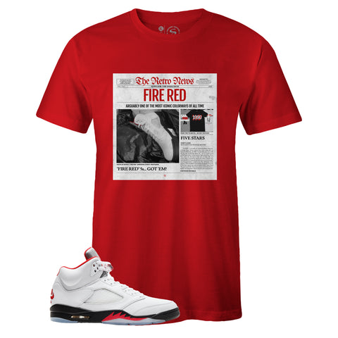 Men's Red Crew Neck RETRO NEWS T-shirt to Match Air Jordan Retro 5 Fire Red