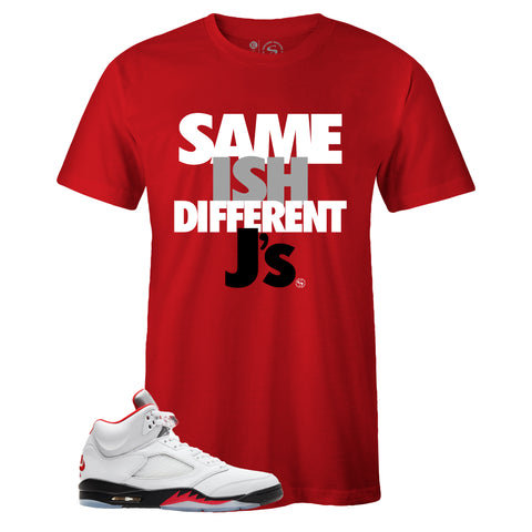 Men's Red Crew Neck SAME ISH DIFFERENT J's T-shirt to Match Air Jordan Retro 5 Fire Red