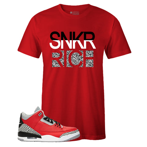 Men's Red Crew Neck SNKR RICH T-shirt To Match Air Jordan Retro 3 Red Cement