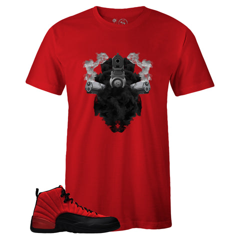 Men's Red Crew Neck GUNS IN SMOKE T-shirt to Match Air Jordan Retro 12 Reverse Flu Game