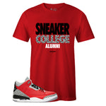 Men's Red Crew Neck SNEAKER COLLEGE Alumni T-shirt To Match Air Jordan Retro 3 Red Cement