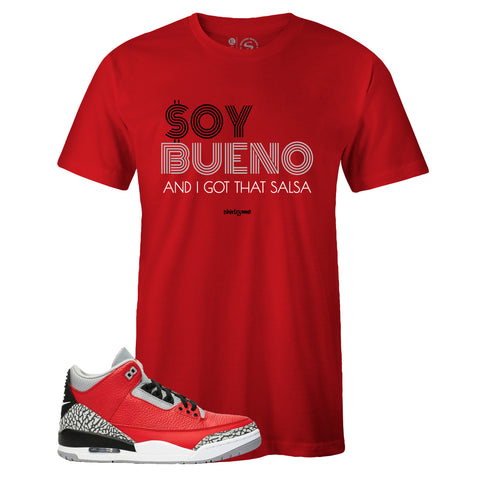 Men's Red Crew Neck SOY BUENO T-shirt To Match Air Jordan Retro 3 Red Cement