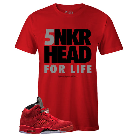 Men's Red Crew Neck SNKRHEAD FOR LIFE T-shirt to Match Air Jordan Retro 5 Red Suede