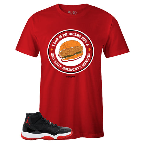 Men's Red Crew Neck CHICKEN SANDWICH T-shirt to Match Air Jordan Retro 11 Bred