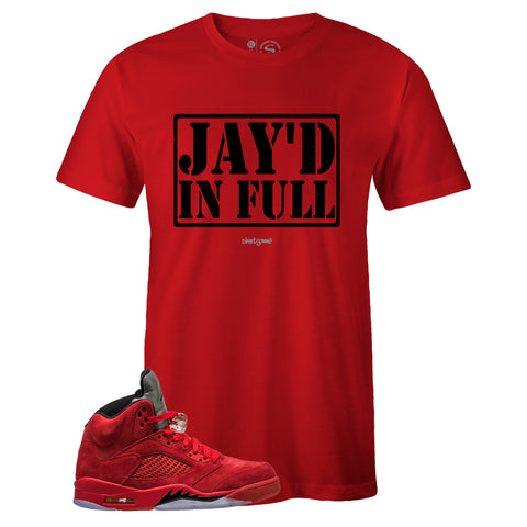 Men's Red Crew Neck JAY'D IN FULL T-shirt To Match Air Jordan Retro 5 Red Suede