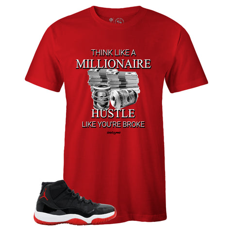 Men's Red Crew Neck MILLIONAIRE MINDSET T-shirt to Match Air Jordan Retro 11 Bred