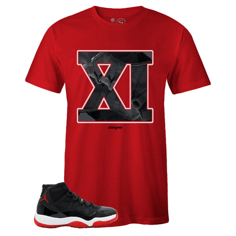 Men's Red Crew Neck XI T-shirt to Match Air Jordan Retro 11 Bred