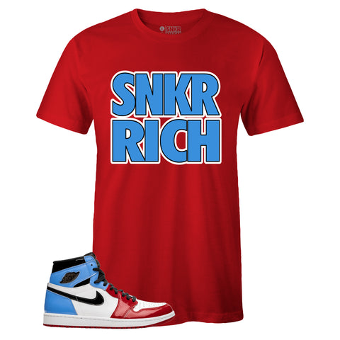 Men's Red Crew Neck SNKR RICH T-shirt To Match Air Jordan Retro 1 OG FEARLESS