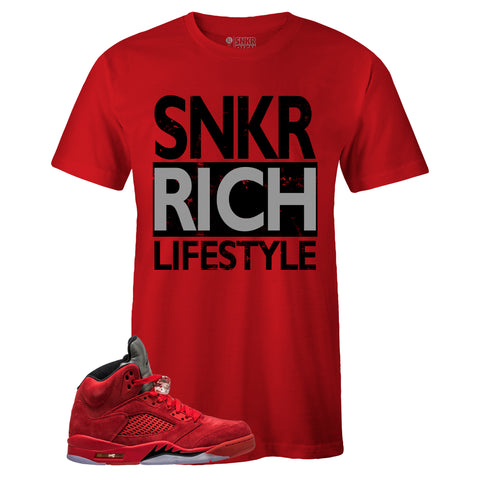 Men's Red Crew Neck SNKR RICH LIFESTYLE T-shirt to Match Air Jordan Retro 5 Red Suede