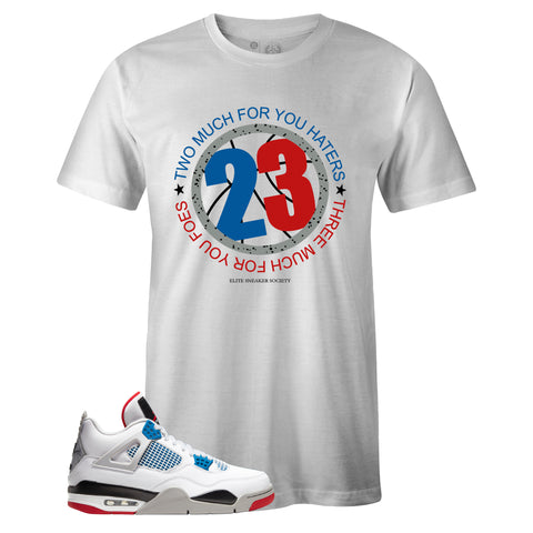 Men's White Crew Neck 23 T-shirt To Match Air Jordan Retro 4 What The