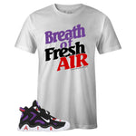 Men's White Crew Neck BREATH OF FRESH AIR T-shirt To Match Nike Air Barrage Mid Raptors