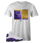 Men's White Crew Neck PASSION T-shirt To Match Air Jordan Retro 13 Lakers