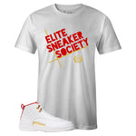Men's White Crew Neck ELITE SNEAKER SOCIETY T-shirt To Match Air Jordan Retro 12 Fiba