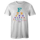 Men's White Crew Neck EYE CHART T-shirt To Match Air Jordan Retro 9 Dream It Do It Flight Nostalgia