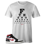 Men's White Crew Neck EYE CHART T-shirt To Match Air Jordan Retro 1 OG Gym Red