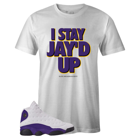 Men's White Crew Neck JAY'D UP T-shirt To Match Air Jordan Retro 13 Lakers