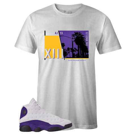 Men's White Crew Neck LOS ANGELES T-shirt To Match Air Jordan Retro 13 Lakers
