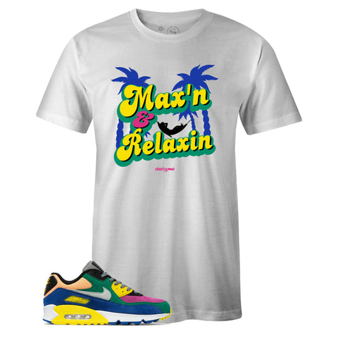 Men's White Crew Neck MAX'N and RELAXIN T-shirt To Match Nike Air Max 90 Viotech 2.0