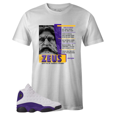Men's White Crew Neck ZEUS T-shirt To Match Air Jordan Retro 13 Lakers