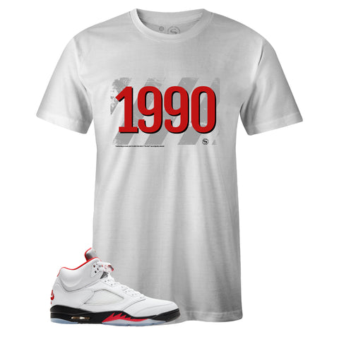 Men's White Crew Neck 1990 T-shirt to Match Air Jordan Retro 5 Fire Red