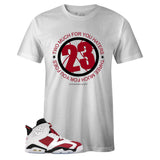 White Crew Neck 23 T-shirt to Match Air Jordan Retro 6 Carmine