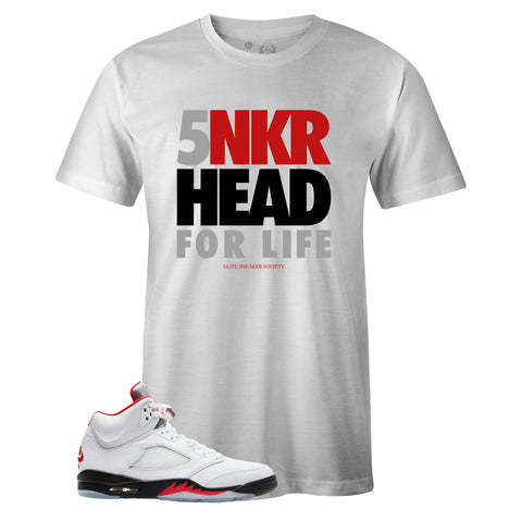 Men's White Crew Neck SNKR HEAD FOR LIFE T-shirt to Match Air Jordan Retro 5 Fire Red