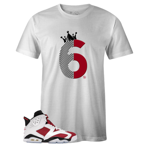 White Crew Neck SIX T-shirt to Match Air Jordan Retro 6 Carmine