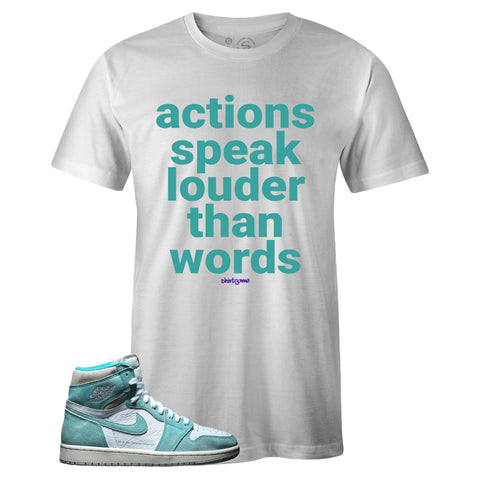 Men's White Crew Neck ACTIONS T-shirt To Match Air Jordan Retro 1 OG Turbo Green