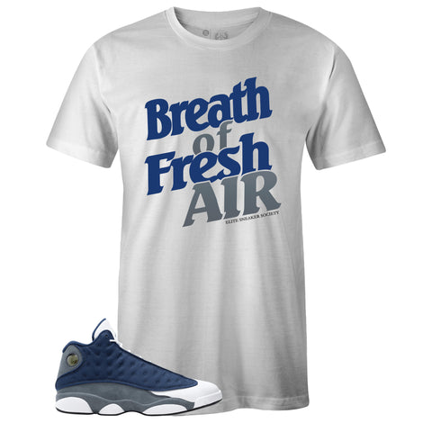 Men's White Crew Neck BREATH OF FRESH AIR T-shirt to Match Air Jordan Retro 13 Flint