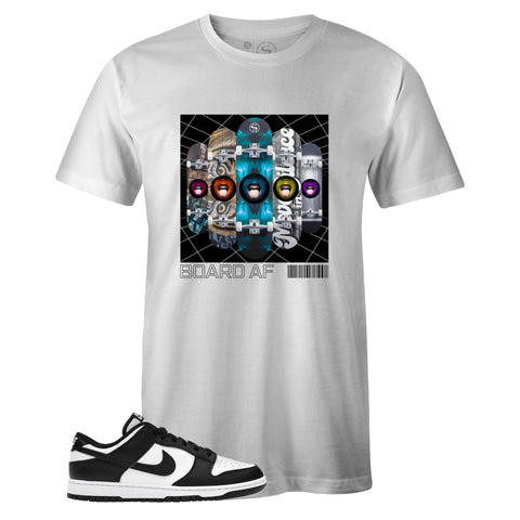 Men's White Crew Neck BOARD AF T-shirt to Match Nike SB Dunk Low Black White