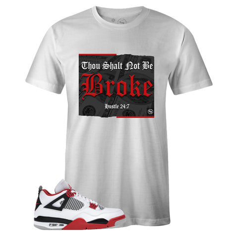 Men's White Crew Neck BROKE T-shirt to Match Air Jordan Retro 4 Fire Red
